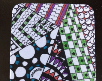 """Zentangle Coasters - Fun Drinking Coasters - Set of Artistic Coasters hand drawn by ZenJoanie - """"Angles"""""""