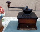 Vintage Coffee Grinder Mill, Coffee Grinder Mill, 1900 39 s, Wood Box Tongue And Groove Cast Iron, Top Crank, Farmhouse Kitchen