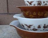 Vintage Pyrex 4 Nesting Cinderella Early American Bowls, Mixing Bowls, Serving Bowls, Mid Century Kitchen, Retro Pyrex Mixing Bowls