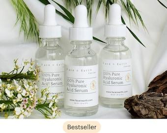 100% Pure Hyaluronic Acid Serum Organic GMO-free Raw Plants, Vegan, Plump and hydrate skin,  HMW & LMW