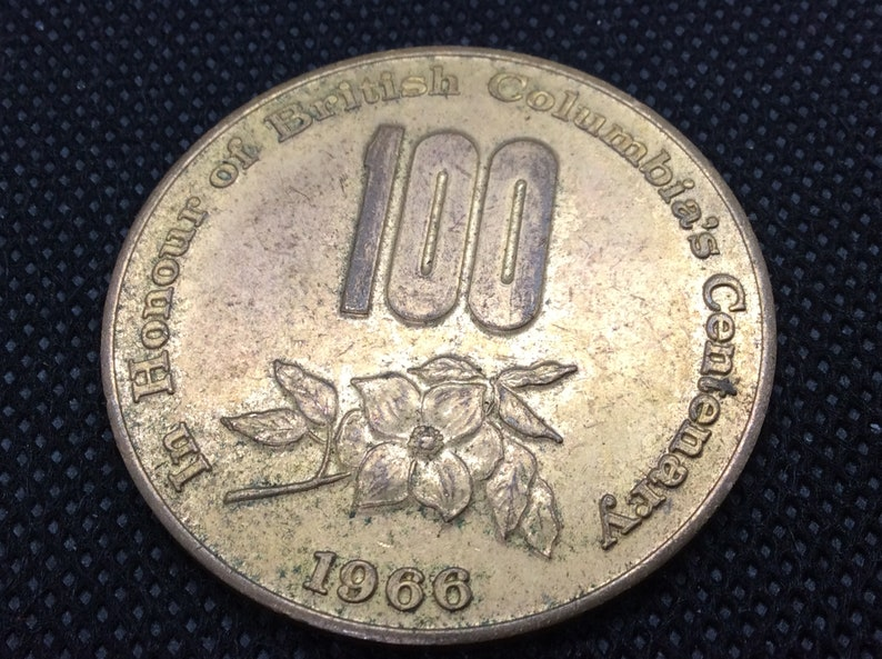 1966 British Columbia Centenary Medal Token Canadian Confederation  1967 Brass Medallion