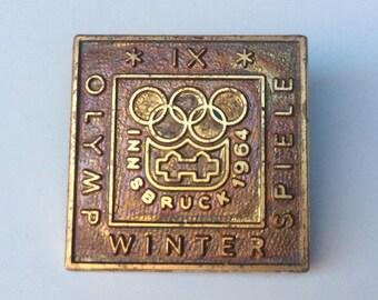 Original 1964 Innsbruck Austria Winter Olympics Pin Badge
