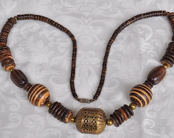 """90s Vintage Beachy, Boho, Tribal Necklace:  Coconut shell, Nut and Brass, 29"""" Long"""