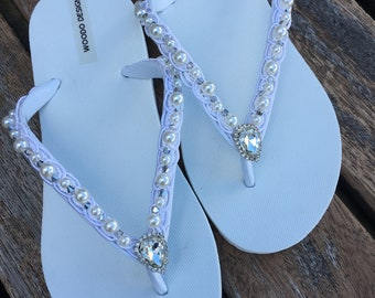 07b3a07e149e7f Lace pearls crystals Flip Flops ...Bridal ivory Flip flops. wedding flip  flops ..bride bridesmaids slippers.. wedding slippers lace