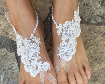 1414d408bda18 Ivory french Lace pearls Barefoot sandals. Bride bridesmaids barefoot  sandals..beach wedding barefoot sandals..bridesmaid gift.. lace anklet