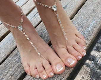 d3604e231967a4 Rose gold Drop Rhinestone barefoot sandals..beach wedding barefoot sandals..yoga  carnival accessories..foot jewelry..bridesmaid