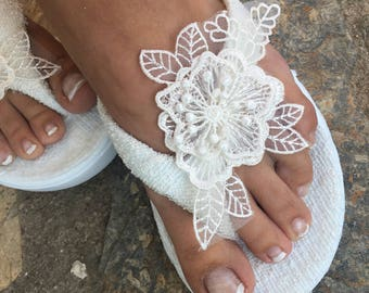 86abae1f1 Bridal ivory Flip flops. wedding flip flops ..bride bridesmaids slippers.. wedding  slippers lace