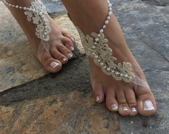 42fe955ed9efe Gold and cream french Lace pearls Barefoot sandals. Bride bridesmaids  barefoot sandals..beach wedding barefoot sandals..bridesmaid gift.. la