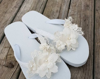 89aa2781f7928 Bridal Flip flops. wedding flip flops ..bride bridesmaids slippers.. wedding  slippers lace