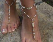 Gold beads Pearls bride bridesmaid barefoot sandals gold barefoot sandals.wedding barefoot sandals bridal barefoot sandals.pearls anklets.