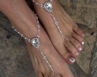 39b8a087181fa Rhinestone and pearls silver barefoot sandals..beach wedding barefoot  sandals..yoga carnival accessories..foot jewelry..bridesmaid gift.