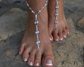 5ef3a2f60a8b0 Silver crystals and pearls barefoot sandals..beach wedding barefoot sandals..carnival  accessories..foot jewelry..bridesmaid barefoot sand