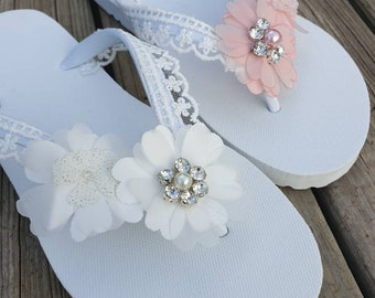50c7b9329 Rhinestone Flowers pearls Flip Flops ...Bridal ivory Flip flops. wedding  flip flops ..bride bridesmaids slippers.. wedding slippers lace