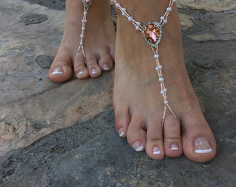 a9c5eef9956f83 Rose Rhinestone and pearls silver barefoot sandals..beach wedding barefoot  sandals..yoga carnival accessories..foot jewelry.bridesmaid gift