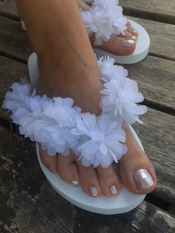 8ecb39d8d270a White chiffon flowers pearls Flip Flops slippers..Bridal party