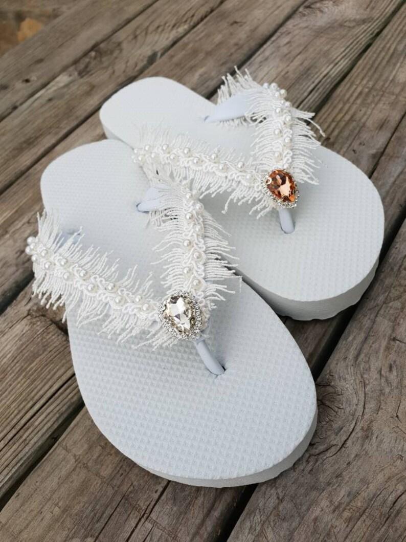 e7db0fd17 Ivory lace And rhinestone Flip Flops ...Bridal ivory Flip