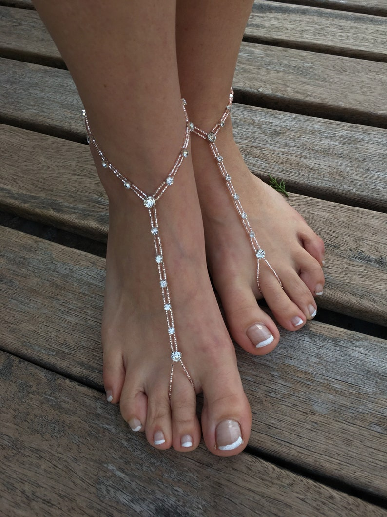 d80d26e38 Big Rhinestone rose gold barefoot sandals..beach wedding
