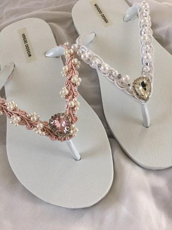 stile attraente raccolta di sconti bellissimo a colori Pizzo perle cristalli infradito... Da sposa avorio infradito. infradito da  sposa... Pantofole di Damigelle Sposa... da sposa in pizzo Pantofole