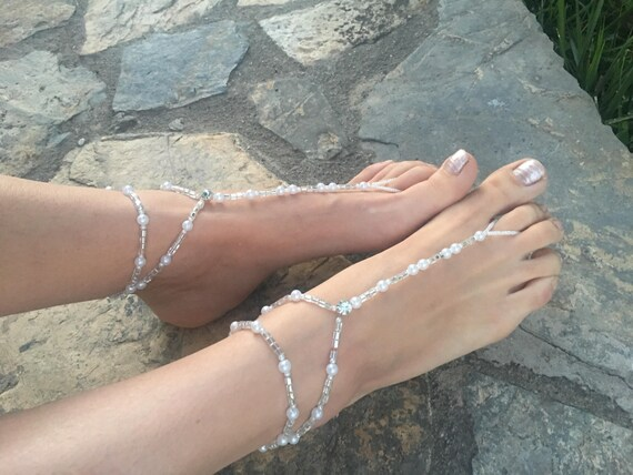 Crystals barefoot sandas..wedding pearls barefoot sandals..bridal barefoot sandals..pearls barefoot sandals..bridesmaid gift..