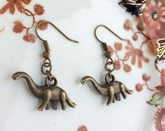 Dinosaur Earrings Diplodocus Brachiosaurus Brontosaurus Apatosaurus Bronze Charm Jewellery Gift Dino Prehistoric
