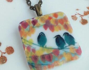 "Bird Ceramic Tile Necklace 'Autumn Leaves' Porcelain Red Orange Leaf Navy Blue White Birds Pendant Charm Charms 20"" Chain"
