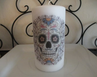 Colorful Sugar Skull Pillar Candle