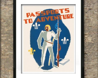 Vintage Passports to Adventure American Poster Art Print different sizes available