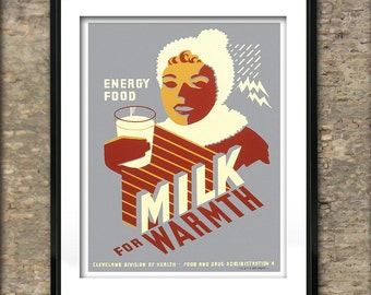 Vintage Milk for Warmth American Poster Art Print different sizes available