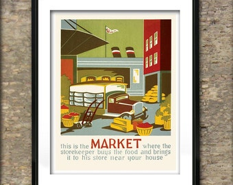 Vintage Market American Poster Art Print different sizes available