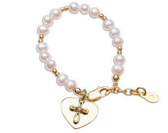 Personalized Children's 14K Gold-Plated Cross with Freshwater Pearl Bracelet Free Engraving, Baptism, Christening, First Communion Gift