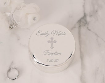 Personalized Silver Round Jewelry Box with Cross, FREE Engraved Custom Gift for Baby Baptism Gift, First Communion Gift, Infant Christening