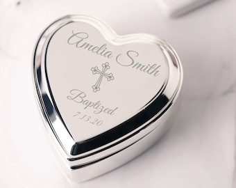 Personalized Silver Heart Jewelry Box with Cross, FREE Engraved Custom First Communion Gift for Girls, Baby Baptism Gift, Infant Christening