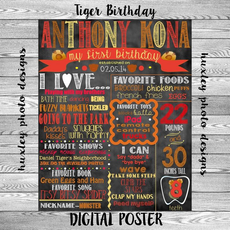 Tiger Birthday Stat Chalk board Digital Poster