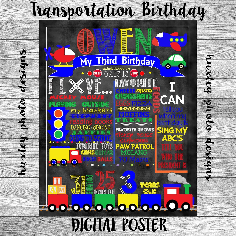 Transportation Birthday Stat Chalk Board Digital