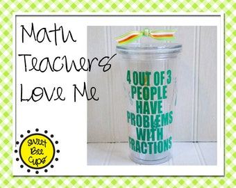 4 Out of 3 People Have Problems With Fractions, Personalized Cup, CPA Gift, Accountant Gift, Mathlete, ARML, NYSML, Math Club, Cup for Guys