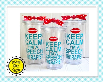 Personalized Acrylic Cup Md - Keep Calm I'm a Speech Therapist for slp 16 oz. Acrylic Cup for SLPs and ASHA Members BPA FREE