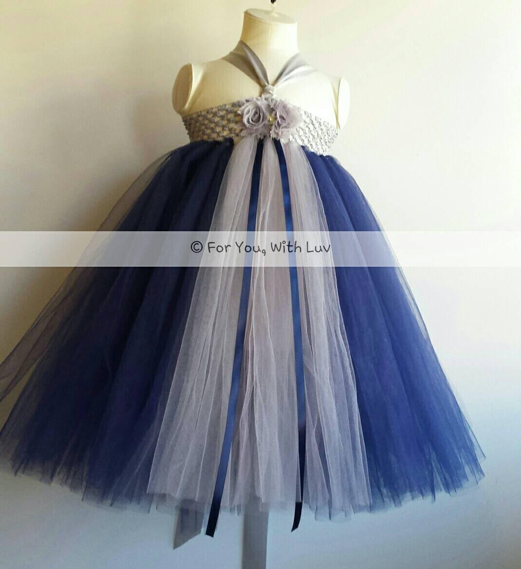 Gray Silver And Navy Blue Flower Girl Dress Birthday Dress