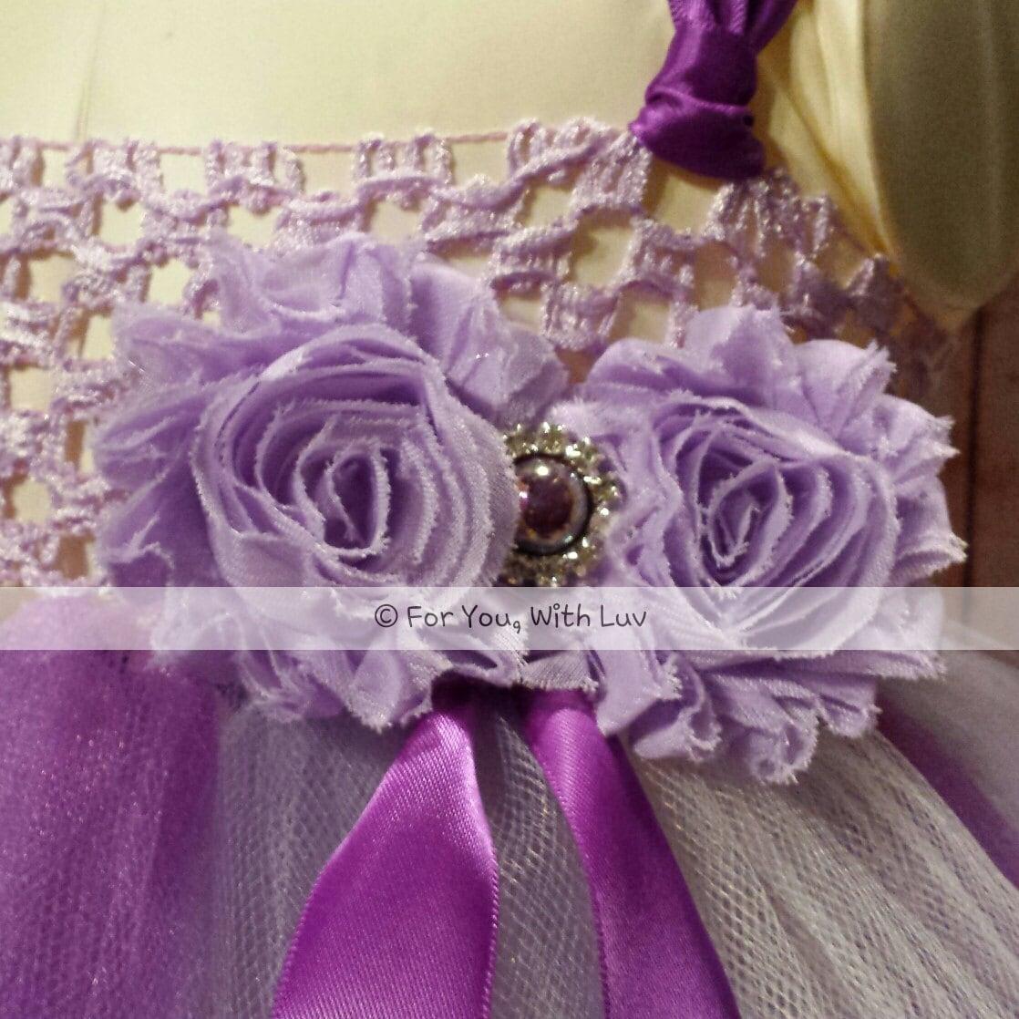 Purple Lavender And White Flower Girl Dress Empire Style Tea Length