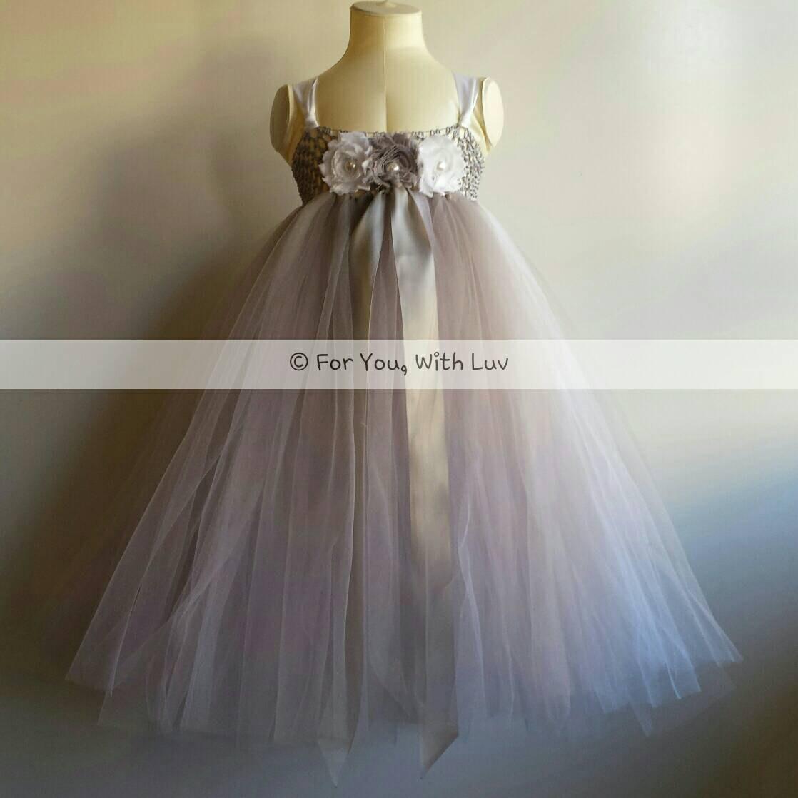 Gray silver and white flower girl dress birthday dress etsy zoom mightylinksfo