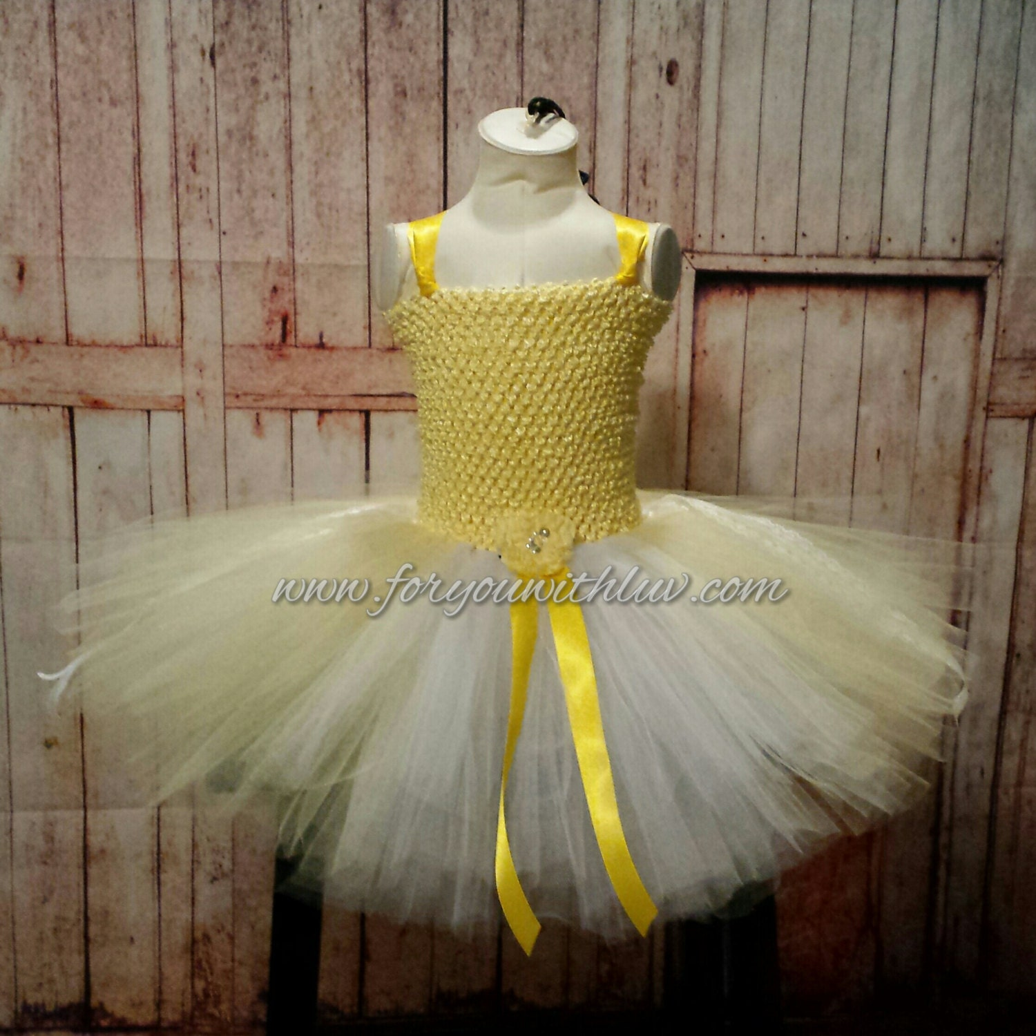 Yellow And White Flower Girl Dress Birthday Dress Princess Dance