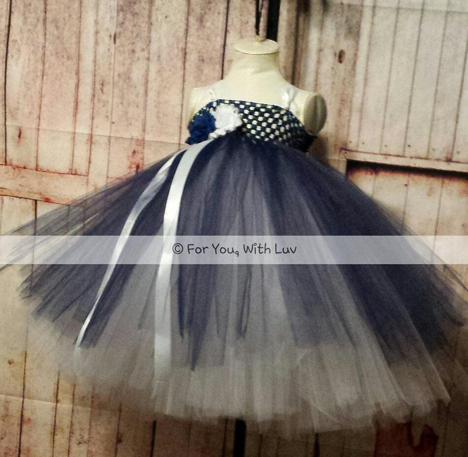 Navy And White Flower Girl Dress Layered Empire Style Tea Length
