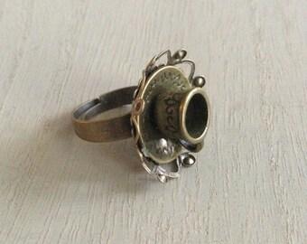 Alice in Wonderland Tea Cup Ring in Antique Bronze