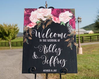 Custom Wedding Sign with floral accents
