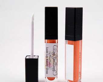 Luxe Lip Kandy Tinted Lip Gloss in MANGO PEACH FUSION with Built-in Mirror - Vegan
