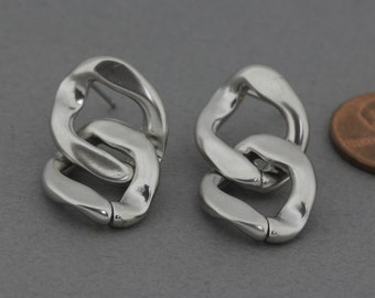 925 Sterling Silver Post Round Post Earring Matte Original Rhodium Plated  2 Pcs Earring Component FC617-MR