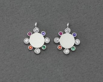 Matte Original Rhodium Plated   2 Pcs FC392-MR-MS Bridal Jewelry Wedding Jewelry Flower Brass Pendant