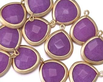 10% OFF (10 Pieces) . Purple Jade Gemstone Pendant . Wholesale Jewelry Supplies . 16K Matte Gold Plated over Zinc / 10 Pcs - AG025-MG-PJ