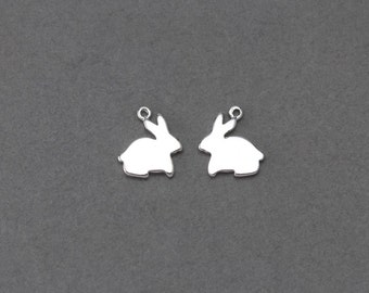 Rabbit Brass Pendant. Jewelry Craft Supplies . Polished Rhodium Plated over Brass / 2 Pcs - FC119-PR