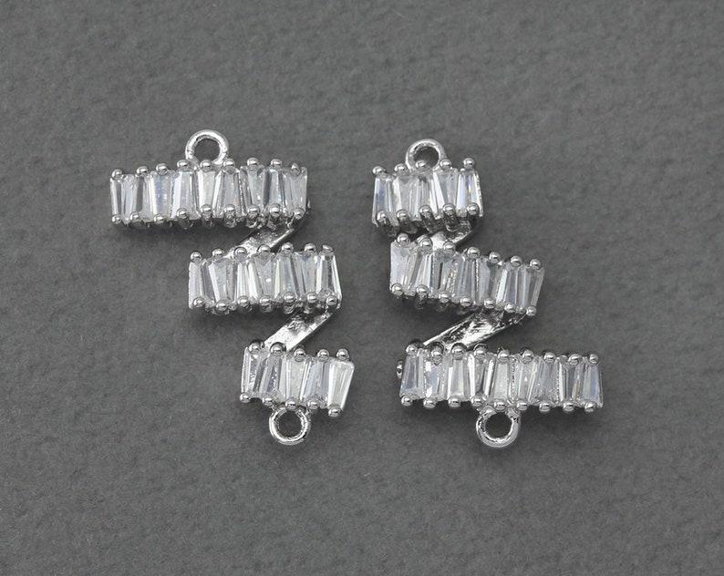 BC275-PR-CR Polished Original Rhodium Plated  2 Pcs Bridal Jewelry Cubic Ladder Connector Wedding Jewelry