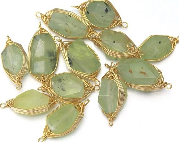 10 % de réduction (10 pièces). Connecteur de prehnite pierres précieuses.  Fourniture en gros de bijoux. 16K or plaqué sur laiton - DG002-PG-Pr poli